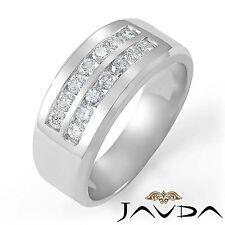 Round Diamond Channel Set Ring 18k White Gold 9.6mm Men Half Wedding Band 0.85Ct