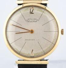 Vintage 14k Oro Amarillo Hombres Moviga Correa Manual Reloj W/ Correa de Cuero