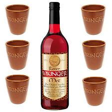 Wikinger Roter Met Honigwein 1 Flasche Met 0,75l + 6 Met Tonbecher 0,1 l Wein