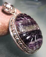 Sterling silver 16gr hand carved banded fluorite stone pendant.