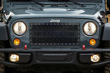 Custom Aftermarket Steel Grille MOLON LABE Black for Jeep Wrangler Grill 2007-16