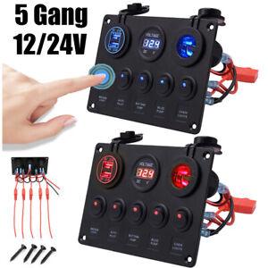 12V 24V Switch Panel Cigarette Lighter Socket USB Charger Voltmeter Car Boat UK