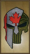 PUNISHER SPARTAN HELMET CANADA FLAG MORALE PATCH RED UNIFORM HOOK LOOP BACKING