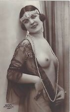 1920 French NUDE Photograph - Striking Flapper, Headband, Jewelry, Pearls