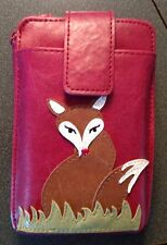 LAVISHY FOX CROSS BODY WALLET MINI BAG VEGAN FAUX LEATHER NEW (55-936Red)