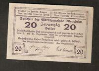 Austria Gutschein d. Marktgemeinde OTTENSHEIM 20 heller 1920 Austrian Notgeld