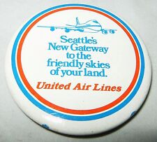 RARE Vintage UNITED AIR LINES Seattle's New Gateway Lapel Pin Pinback Button