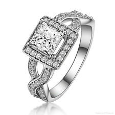 Women's 2 Carats Princess Cut Lab Diamond Wedding Engagement Ring Size 6 R71