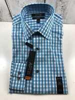Men's APT.9 Stretch Slim Fit Stretch Small 14 1/2 32/33 Sleeve Dress Shirt Blue