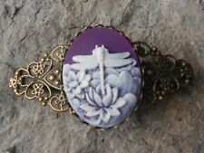 DRAGONFLY CAMEO (PURPLE) BRONZE FILIGREE BARRETTE - VICTORIAN LOOK, WEDDING