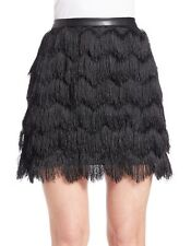 Sam Edelman Fiona Feather Fringe Skirt Black Size 8 NWT $119
