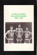 LeMoyne Dolphins--1986-87 Basketball Pocket Schedule