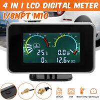 4in1 LCD Car Auto Digital Gauge Volt Oil Pressure Water Temp Fuel Meter 12V/24V
