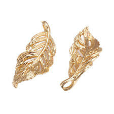 5pc Real Gold Plated Leaf Leaves Jewelry Making Craft Charm Pendant DIY Necklace