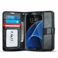 J&D Samsung Galaxy S7 [RFID Blocking Wallet] PU Leather Flip Wallet Case