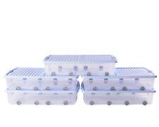 Ondis24 5x Unterbettbox Allzweckbox Rollerbox Unterbettbox 55 L transparent-blau