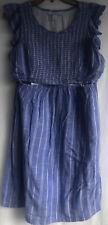 Motherhood Maternity Nursing Dress Peasant Breastfeeding Light Linen M Medium