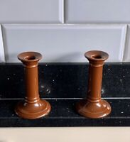 PAIR DOULTON POTTERY BROWN GLAZED CANDLESTICKS ART NOUVEAU STAMPED EMBOSSED MARK