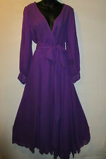 Dress 2X Plus Purple Maxi and Mini Lined Skirt Chiffon Flowing Sash Tie Belt NWT