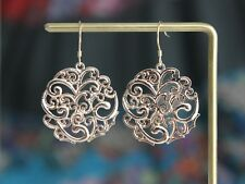 Gold plated Filigree cut out circle earrings