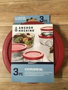 Anchor Hocking 3 X 4 Cup Lids Covers Replacement Food Storage Red 3pc 4cup