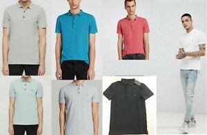 ALLSAINTS REFORM POLO T-SHIRT TOP GREY/BLUE/WHITE/PINK/GREEN - XS S M L XL XXL