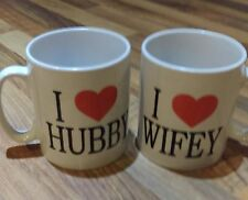 Valentines Day,Christmas Love,I Love Hubby & Wifey His & Hers Coffee,Tea Mug Set