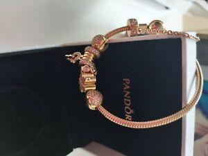 genuine rose gold pandora bracelet and pandora charms size 19