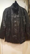 Men's Outerwear Winter double zipper Leather Parka Black Jacket Coat tag size XL