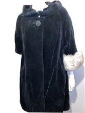 Vintage Velvet Coat Sheepskin Cuffs One Button 60s Large