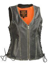Milwaukee Leather Women's Distressed Grey Zipper Front- Gun Pockets Vest MLL4517