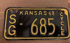 Vintage Kansas Motorcycle 🏍 License Plate 1968 #SG 686. Sedgwick County