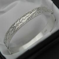 1972 Vintage Solid 925 Silver 1/2 Engraved Floral Design Hinged Bangle Bracelet