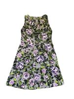 Women's Apt. 9 Gray Purple Flower Floral Casual Dress Size 14 Sleeveless Stretch