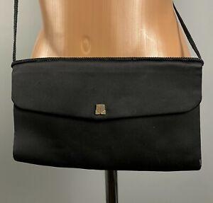 Lanvin Black Black Clutch Bag Shoulder Bag Elegant Snap Satchel Made in France