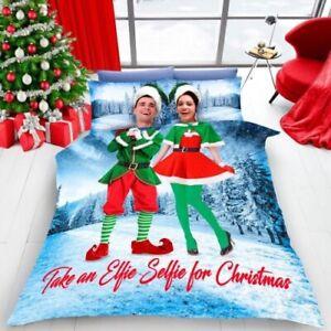 DOUBLE BED DUVET COVER SET ELF SELFIE CHRISTMAS BEDDING