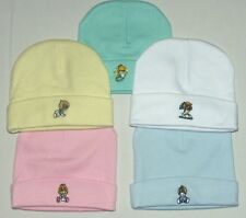 Newborn Cotton Beanie Hat With Embroidery Boys/Girls Blue White Pink GreenYellow