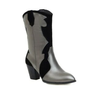 New Womens Pointed Toe Faux Leather Pull On Shoes High Heel Block Mid-Calf Boots