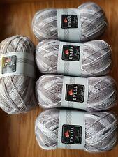 Eylul Knitting / Crochet DK Yarn Wool 5 x 100g. Grey/White/Black