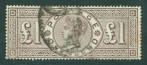 SG 186 £1 brown-lilac, watermark orbs. Fine used, good colour & well centred...