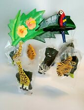 wood carved baby mobile nursery hand painted jungle animals birds boho baby