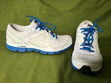 EUC MEN'S 10 44 WHITE/BLUE NIKE DUAL FUSION ST RUNNING SHOES WAFFLE EXCELLENT