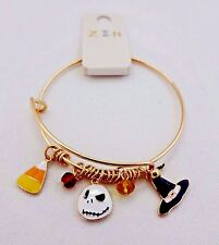Halloween bracelet thin gold tone metal dangle charms witch hat candy corn