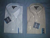 NWT NEW mens blue striped CROFT & BARROW easy care l/s dress shirt $45 retail