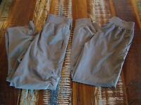 2 Pair DANSKIN Girl's LightWeight Woven JOGGER PANTS Elastic Roll-Up Gray 7/8