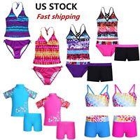 US Kids Girls Swimwear Tankini Set Two Piece Swimsuit Bathing Clothes Beachwear