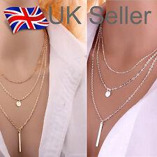 Choker Gold/Silver Multi-layer Choker Collar Coin Beach Necklace Retro-UK Seller