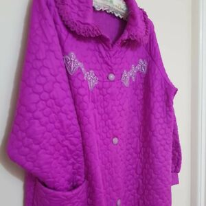 Vintage 70s Target Dressing Gown Robe House Coat Quilted Purple Size XL