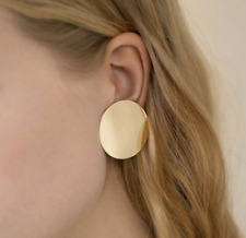 Ladies' Fashion Stud Earrings Smooth Circular Wafer Golden Earrings Wholesale