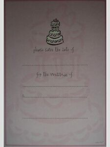 Pink Wedding Day Cake Save the Date Invitations w/ Envelopes - Set of 10